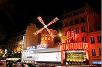 Moulin Rouge, Paris, Moulin Roughe Exterior At Night, Crowd In The Background