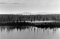 Ångermanland, River Surrounded Trees By Mountain, Reflaction In The Water B/W