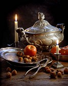 Tennstilleben. Crockry And Fruits With Candles, Close_Up