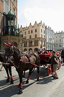 Horse and carriages in Main Market Square Rynek Glowny, Old Town District Stare Miasto, Krakow Cracow, UNESCO World Heritage Site, Poland, Europe