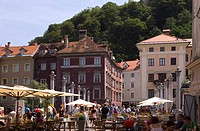 Open air market by the river Ljubljanica, Ljubljana, Slovenia, Europe