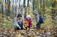 Mother collecting leaves with children in park