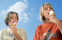 Two Boys sitting next to Each Other under the blue Sky eating Ice_cream _ Friendship _ Sweets _ Youth