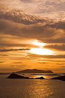 Silhouette of Islands in an ocean, Slea Head, Blasket Islands, Dingle Peninsula, County Kerry, Munster Province, Ireland