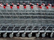45X60 FOTO: Bengt Olof Olsson COPYRIGHT BILDHUSET Stack Of Shopping Trolley