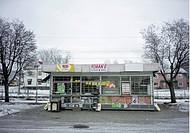Kiosk, Shop By Trees In Winter