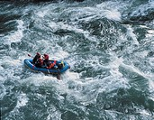 Forsränning, People Rafting Over River, Elevated View