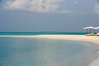 Umbrellas on a white beach, Maldives, Indian Ocean, Asia
