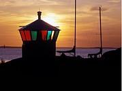 Fy i solnedgång Lighthouse At Dusk