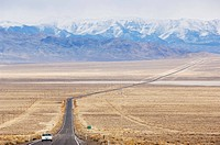 A never ending straight road on US Route 50, the loneliest road in America, Nevada, United States of America, North America