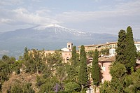 View of Mount Etna from Taormina, Sicily, Italy, Europe