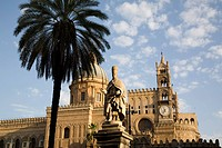 Cathedral clock tower, Palermo, Sicily, Italy, Europe