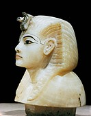 Stopper in the form of the king´s head from one of the four canopic urns, from the tomb of the pharaoh Tutankhamun, discovered in the Valley of the Ki...
