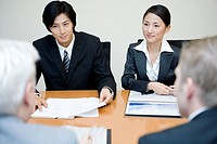 Businessman And Businesswoman Meeting At Office