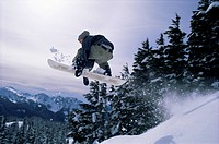 Snowboarder, Mount Rainier, Washington State, United States of America U.S.A., North America