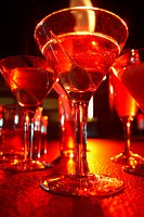 Assortment of cocktails on table close_up, low angle view