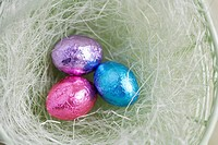 Three Easter egg candies in bowl close_up, directly above