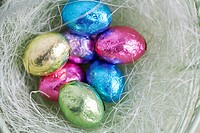 Easter egg candies in bowl close_up, directly above