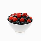 Bowl of mixed blueberries and raspberries on white background (thumbnail)