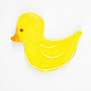 Sugar cookie in shape of duck with decorative icing