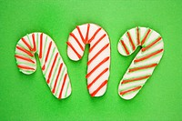 Candy cane sugar cookies with decorative icing