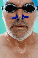 Senior Male Swimmer with Nose Clip