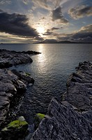 Clew Bay at dusk looking towards Clare Island, County Mayo, Connacht, Republic of Ireland Eire, Europe
