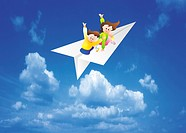 Children On Paper Airplane (thumbnail)