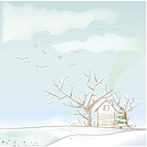 tree, season, house, snow, winter, hill, background