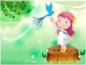 standing, fairy tale, bird on finger, bird, forest, nature