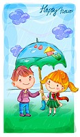 umbrella, fairy tale, boy, girl, child, nature