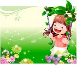 smiling, fairy tale, flowermim, swinging, swing, nature