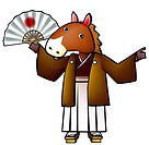 pose, anthropomorphic, folding fan, holding fan, traditional japanese dress, posed, japan