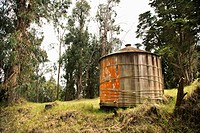 Round rustic storage structure with peeling orange paint