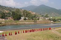 Buddhist monks from Punakha Dzong going to the river to meditate, Punakha, Bhutan, Asia