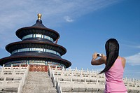 Asian woman at Temple of Heaven, UNESCO World Heritage Site, Beijing, China, Asia