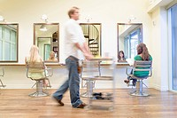 Young Women Waiting for Her Hair Cut, Blurred Motion