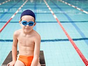 Boy at swimming pool portrait