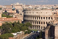 View from Altare della Patria of Colosseum, Rome, Lazio, Italy, Europe