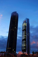 Sacyr Tower and Repsol Tower at dawn, Cuatro Torres Business Area. Madrid, Spain.