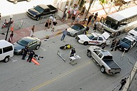 Florida, Miami Beach, ´Ocean Drive´, motorcycle accident, collision, accident scene, emergency, police, victim, man, lying on street, policemen, param...
