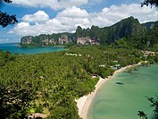aerial view of beautiful Rai Leh beach and bay in Krabi Thailand