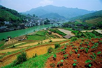 Rice paddies and brick_maker at Longsheng in northeast Guangxi Province, China