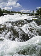 Close_up of waterfall from mountain Forsande vatten vid Trollforsen i Piteälven