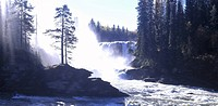 Ristafallet, Jämtland, Waterfall Through Mountain
