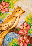 Oil pastel on watercolor paper. 2.5 x 3.5 inches. ACEO card