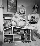 Tvillingar I Barnkammaren, Portrait Of Twin Babies Playing With Dollshouse B/W