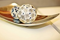 Decorative balls on a tray