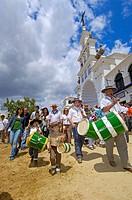 Pilgrims in El Rocio, ´romería´ (pilgrimage) to El Rocio. Almonte, Huelva province, Andalucia, Spain