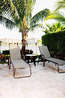 Lounge chairs in a garden